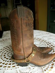 JUSTIN WOMENS BOOTS DISTRESSED LEATHER NARROW ROUNDED TOE W/BOOT STRAPS  sz 8.5