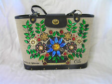 Enid Collins TROPICAL SPENDOR Bucket Purse, Stunning Black Trim!