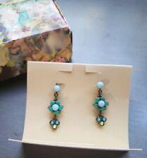 Michal Negrin Blue Green Floral Earrings with Swarovski NIB c.2003