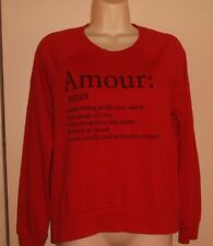 "DEB Size M Red ""amour"" Long Sleeve Sweatshirt  Knit Top"