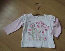 MATALAN Baby Girls Sleeved Top 6-9 Months Cotton Forest Design Pink & White Top