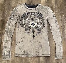 NWT AFFLICTION THERMAL Sweater Shirt REVERSIBLE Grey Men Size Medium Long Sleeve