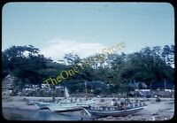 Misaki Japan Harbor Scene Fishing Boats 1950s 35mm Slide Red Border Kodachrome
