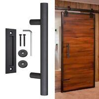 "12"" Sliding Barn Door Pull Flush Handle Gate Hardware Set Cast Iron Matte Black"