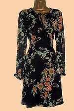 New M*S M*rks and Spencer Black Peach Green Orange Floral Dress 6 8 10 12
