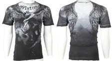 $63 AFFLICTION Mens T-Shirt UPWARD Angel Wings GREY Motorcycle Biker UFC 2XL NWT