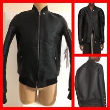 RICK OWENS Ssense Exclusive Black Horsehair Flight Jacket (S/S 17) Size 48 NWT