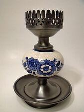 Vintage Ceramic Hurricane Candle Holder Lamp Blue Flowers