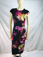 Ted Baker London BodyCon Cascade Floral Multicolor Cocktail Dress CapSleeve Sz 2