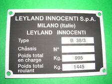 Targhetta dati Leyland Innocenti Mini Matic Type B 38/3