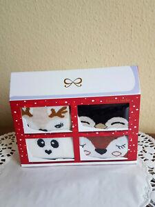 Gr.36/41 HUNKEMÖLLER 4 Paar Socken Geschenkbox Fuchs Panda Pinguin Reh Socks Fox