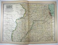 Original 1897 Map of Northern Illinois by The Century Company. Antique