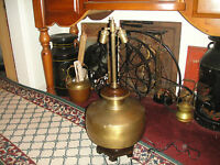 Vintage Wildwood Lamps Brass Asian Dual Socket Large Wood Base Chinese Japanese