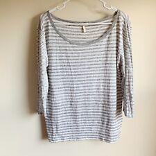 Joie Kilinda Gray White Striped 100% Linen Slub Tee T-shirt Blouse Large