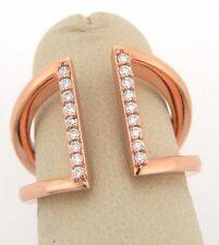 Brand New 14k Rose Gold Diamond Parallel Bar Ring, .18 CTW-Size 6