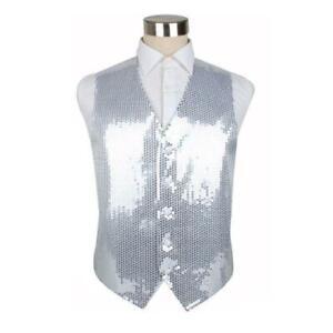 Mens Silver Sequin Patterned Vest Waistcoat