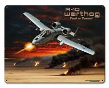 A-10 Warthog Satin Metal Sign - Hand Made in the USA with American Steel