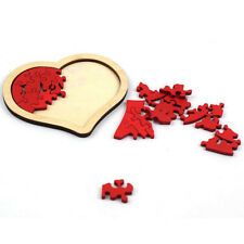 Wooden Red Heart Shaped Puzzle Pieces Jigsaw Wedding Gift Kids Learning Toy Jian
