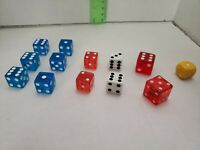 Lot of 13 Dice in Various Sizes and Colors
