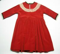 Kid's Vintage 50s Mid Century Tiny Town Togs Red Velvet Dress size 5-6