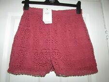 girls lovely berry colour lacy shorts with stretch waist by M&S age 13-14,BNWT