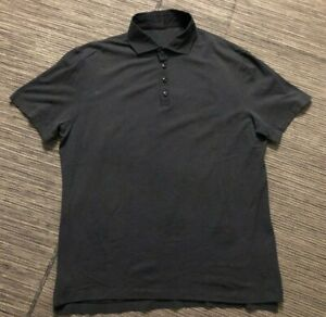 Lululemon Mens XL? Stripe Polo Shirt Short Sleeve Gray