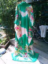 Kimono Furisode Wedding Kakeshita Green Hand Embroidery Golden Peacock 100% Silk