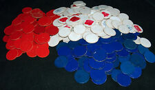 336 Vtg Mi Siècle Revêtu Papier Carton Blanc Rouge Bleu en Relief Poker Puces
