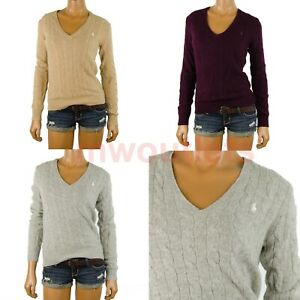 NWT Polo Ralph Lauren Womens 10% Cashmere Wool Sweater V-Neck Pullover