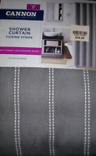 Cannon Fabric Shower Curtain Ticking Stripe Gray 70x72  New in package.