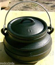 New 10 Quart Cast Iron Flat Bottom Potjie Pot, Cauldron, Wash Pot, Kettle
