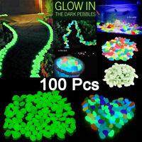 100pcs Glow In The Dark Pebbles Stones Home Garden Walkaway Aquarium Fish Tank K