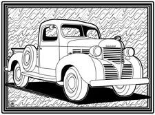 Coloring Page - Retro Car # 3 (Hi-Res JPG file will be sent by email)