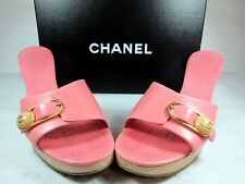 "Vintage Chanel in pink leather and 3"" wood heels sandal."