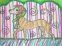 Greyhound Collectible Uptown Girl Dog Art Print 4 x 6 Signed Artist Signed KSams