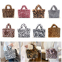 Soft Faux Fur Shoulder Bag Women Plush Handbag Tote Leopard Print