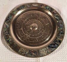 "Mexican 6.75"" Alpaca Silver Aztec Calendar Plate w/ Abelone Inlay"