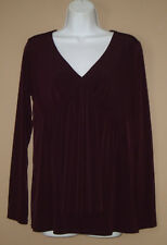 Womens Size Medium Long Sleeve Fall Fashion Solid Plum Purple Blouse Top Shirt