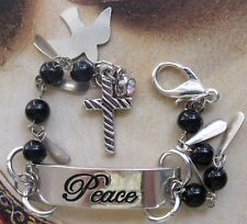 New Christian Peace Comes From Within Cross Dove Charm Bracelet