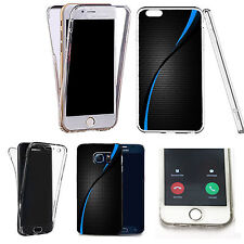 360° Silicone gel full body Case Cover for many mobiles - light blue swirl.