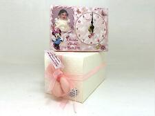Bomboniera battesimo personalizzata con foto orologio minnie tulle confetti