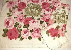 Vtg Fieldcrest Pink Floral w/People 3pc Bath Towel Hand Towel Washcloth NEW Rose