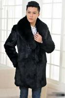 Men's 100% Real Rabbit Fur Coat Jacket Lapel Natural Fur Jacket Luxury Overcoat