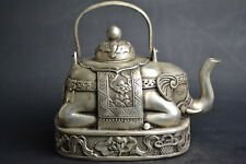 Collectible Chinese Old Tibet Silver Elephant Noble flower big Teapot Decor rare