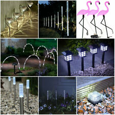 Solar Power Stake Lights White Colour Changing LED Garden Border Patio Outdoor