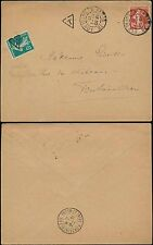 POSTAGE DUE FRANCE 1917 SOWER 5c TAXE ADHESIVE + T TRIANGLE...L2