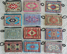 100 Piece Small Coin Purse Wholesale! Ethnic Carpet Patterned Zippered Pouch Bag
