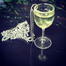 Unique WHITE WINE GLASS NECKLACE miniature CHARDONNAY pinot grigio  SAUVIGNON