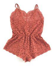 New Victoria's Secret Body LACE ROMPER Scalloped Sheer Ginger Glaze Orange S