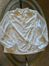 NWT*Christopher & Banks* sz L white on white dot poly chiffon blouse lined $45
